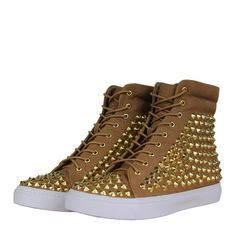 Jeffrey Campbell Alva Womens Hi Top Trainers AW12 Tan/Gold from www.hypedirect.com Jeffrey Campbell, Trainers, High Top Sneakers, Footwear, Lady, Gold, Shoes, Women, Fashion