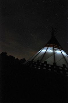 Stralit night at Glamping Tipis in France in Poitou-Charentes, France. Zero light pollution make it a very special place for stargazing.