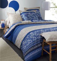 Housse de couette 240x260 design bleu 2 taies d for Housse de couette orientale