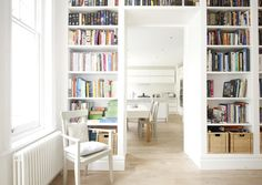 Built-in bookcases surrounding door