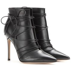 Gianvito Rossi Leather Ankle Boots ($670) ❤ liked on Polyvore featuring shoes, boots, ankle booties, black, leather bootie, short boots, black booties, black ankle booties and black bootie