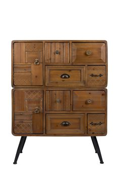 Dutchbone Jove cabinet is puzzled together with wooden drawers and doors. Wooden cabinet with eight drawers and two doors!