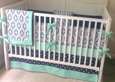 Designer Navy Mint and Gray Ikat Crib by butterbeansboutique