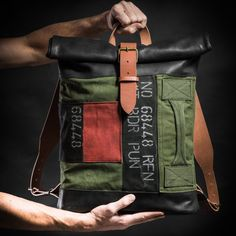Canvas and leather backpack Original by Kruk Garage Roll top backpack Made of British army duffle bag