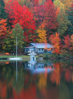 fall scenery Autumn lake cottage- stunning colors, great inspiration for new Fall collections Autumn Lake, Autumn Scenery, Autumn Cozy, Autumn Forest, Beautiful World, Beautiful Places, Beautiful Pictures, Trees Beautiful, Lake Cottage