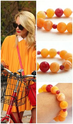 Orange Agate Bracelet. Frosted Stone. Small Red by KapKaDesign