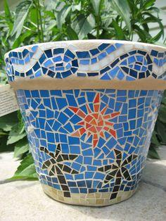 Mosaic Beach Planter by valleybeadglassart on Etsy, $65.00