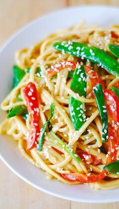 Asian noodle salad with flavorful peanut dressing | vegetarian, vegan recipe
