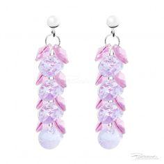 Kolczyki na srebrnych sztyftach z kryształami Rose i Violet - OK8.03 - sklep internetowy Piotrowski