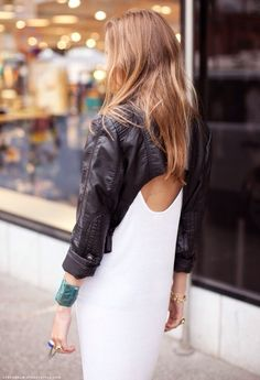 must find leather coat and cut out the back! #leather #outfitideas #blackandwhite