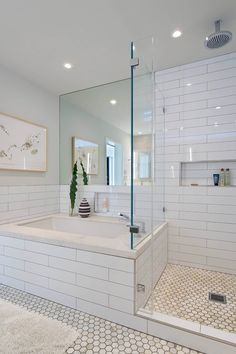 House in Berkeley Hills by Yamamar Design. Modern bath. Oversized subway tile…