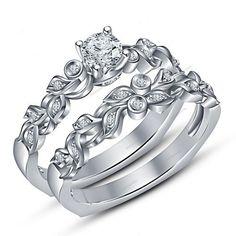VVS1 Diamond White Gold Finish Women's Engagement Bridal Ring Set 0.51 Carat #aonejewels #WeddingEngagementAniversaryGift