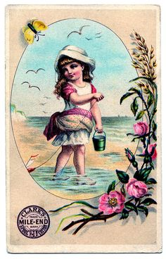 Vintage Graphic - Little Beach Girl & a GIVEAWAY! - The Graphics Fairy