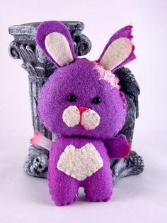 Pocket sized ZomBunny  Dark Lavender Purple zombie by SWStitchery, $16.00
