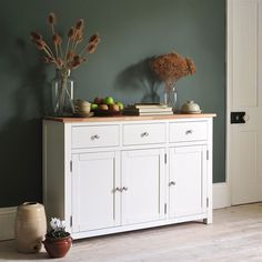 Portobello Painted Sideboard from The Cotswold Company Painted Sideboard, Dining Room Storage, Dining Room Furniture, Grey Sideboard, Dark Walls, Dried Flowers, Interiors, Country Home, Country Dining
