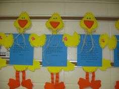 Ducks! Kids can do some writing or art and then glue on the head, wings and feet to turn it into a duck for display.