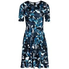Pre-owned Green Teal Jungle Floral Printed Dress ($862) ❤ liked on Polyvore