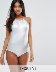 Monki Metallic Halter Neck Swimsuit