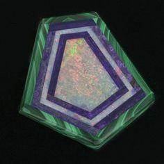 Beautiful kite shaped opal, sugalite and malachite intarsia 33.50 x 32.00mm. pdfn119(e)