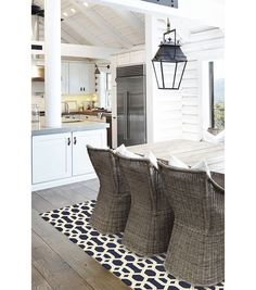 5x7' Ruggable 2pc Washable Rug System-Hexagon Fretwork Navy Blue & White