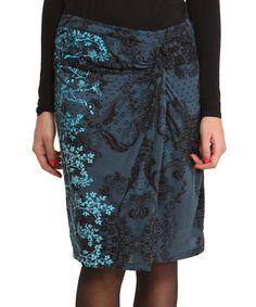 Blue & Black Cokqui Skirt by Desigual #zulily #zulilyfinds