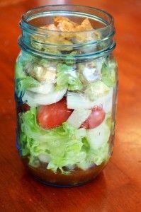 grilled chicken mason jar salad