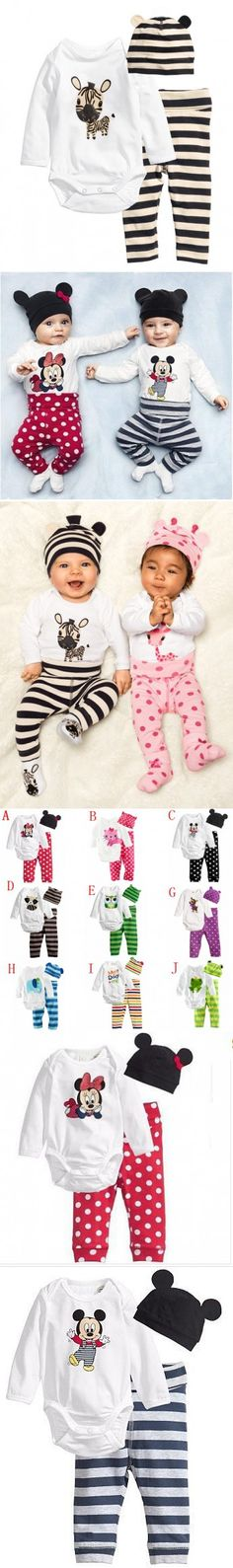 2016 New Baby Clothing Set (Romper+Hat+Pants) Infant Baby Boy Clothes Newborn Baby Girls Clothes Suit Roupas De Bebe Jumpsuit