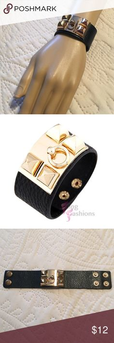 Rocker Chic Cuff Add a touch of rocker glam to any outfit!  Cute leather cuff with gold hardware.  2 set of snaps on back for sizing. Fling Fashions Jewelry Bracelets