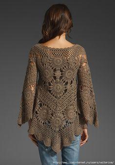 Crochet Bolero, Poncho Au Crochet, Crochet Tunic Pattern, Mode Crochet, Crochet Motifs, Crochet Jacket, Knit Crochet, Crochet Patterns, Crochet Tops