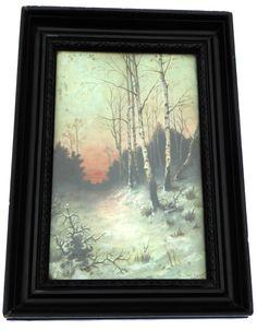 Edwardian Oil Painting of Sunset on Winter by BiminiCricket Vintage Home Decor, Vintage Art, Illustration Art, Illustrations, Vintage Vogue, Vertigo, Georgian, Mall, Victorian