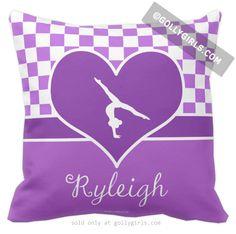 Golly Girls: Purple Checkered Gymnastics Throw Pillow from gollygirls.com