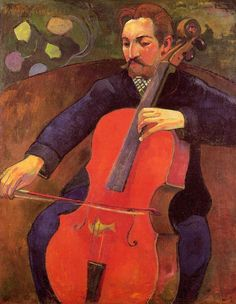 The Cellist (Portrait of Upaupa Schneklud), 1894. Paul Gauguin. Oil on canvas. Baltimore Museum of Art. Swedish composer and cellist Fritz Schneklud (1859-1930). Gauguin superimposed many of his own features in order to cast the painting as a self portrait.