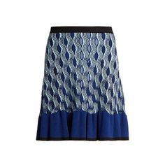 Mary Katrantzou Pollie snuffbox-print knitted skirt ($540) ❤ liked on Polyvore featuring skirts, patterned skirts, flare skirt, blue flared skirt, knee length flared skirts and blue skirt