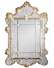 large Venetian glass mirror framed in hand-etched glass with gold accents
