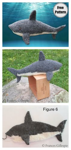 Shark Soft Toy Free Knitting Pattern - - This adorable stuffed animal is perfect for shark lovers. This Shark Soft Toy Free Knitting Pattern shows you how to knit Shark toy. Shark Stuffed Animal, Cute Stuffed Animals, Animal Knitting Patterns, Christmas Knitting Patterns, Knitted Toys Patterns, Animal Patterns, Crochet Shark, How To Start Knitting, Knitted Animals