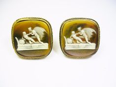 VINTAGE DANTE CUFF LINKS CAMEO INCOLAY STONE CUFFLINKS GREEK MYTHOLOGY  #Dante