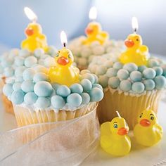 Rubber Ducky Baby Shower - cupcakes instead of cake? cute idea too. could do chocolate cupcakes with green frosting.. brown m or something on top?