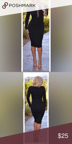 Black long sleeve dress Thick material, super sexy dress. Fast Shipping No Trades, accept offers  bundle discounts with 2 items or more  Check out others items. Dresses Midi
