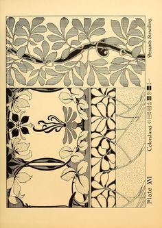 Ideas & studies in stencilling & decorating leaf borders and floral motifs in Art Nouveau style