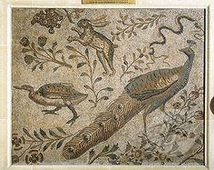 roman mosaic   Stock Photo - France - Paris - Luxembourg Palace, the aviary. Roman ...