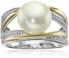 S&G Sterling Silver and 14k Yellow Gold Freshwater Cultured Pearl Diamond Ring (1/10cttw, I-J Color, I2-I3 Clarity), Size 7 >>> Check this awesome product by going to the link at the image.