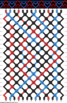 Friendship bracelet - pattern 36133 - 14 strings 3 colours - Blue/red interlock hearts