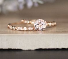 Pink morganite engagement ring set Curved U diamond wedding band rose gold bridal rings oval Morganite ring Milgrain HALO - Fine Jewelry Ideas Diamond Promise Rings, Diamond Bands, Diamond Wedding Bands, Solitaire Rings, Moissanite Rings, Dream Engagement Rings, Rose Gold Engagement Ring, Halo Engagement, Cheap Vintage Engagement Rings