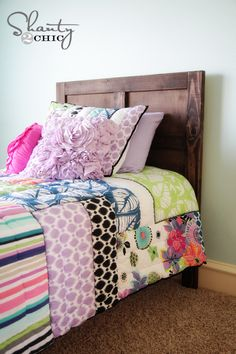 Emme Twin Bed ~    Free plans to build a wood bed inspired by Pottery Barn Kids Emmett Bed for just 70.00! Step by step plans.     How To @:  http://ana-white.com/2013/03/plans/emme-twin-bed?utm_source=feedburner_medium=email_campaign=Feed%3A+ana-white+%28Ana+White%29