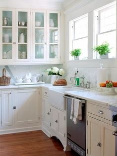 love this idea of painting the interior of cabinets