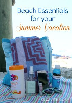 Beach essentials for a day of fun in the sun.  Must-pack items to make your vacation less stressful.