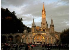 Sunrise in Lourdes.  The Basilica of our Lady of the Rosary (French: Notre Dame du Rosaire de Lourdes) is a Roman Catholic church and minor basilica within the Sanctuary of Our Lady of Lourdes in France.  Also see http://en.wikipedia.org/wiki/Rosary_Basilica