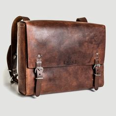 """Stylish, stitched ethical leather satchel made from fair-trade, veg-tanned eco-leather. Suitable for most 13"""" laptops."""