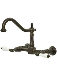 Chesapeake Wall-Mount Centerset Kitchen Faucet with White Porcelain Levers   House of Antique Hardware