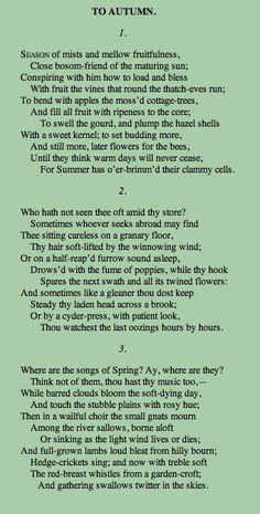 "John Keats' poetry is a very prime example of romanticism, with one of his most notable works being ""To Autumn"" To Autumn John Keats, English Romantic, Funeral Poems, English Literature, Poem English, English Language, Poetry Quotes, Quotes Quotes, Beautiful Words"